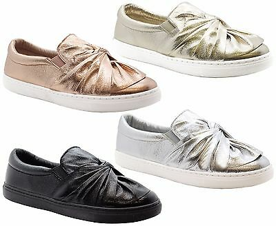 Ladies Womens Flats Slip On Casual Bow Knotted Trainers Skater Pumps Shoes Size