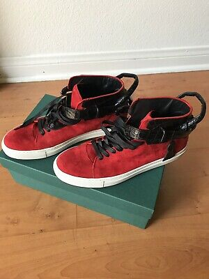 ac254b4925 Buscemi Men's 100mm Red/Black/White Lock & Key High Top Sneakers 44 Sz