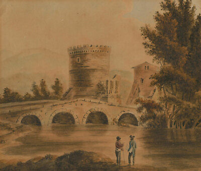 Mid 19th Century Watercolour - Two Figures in a River Landscape