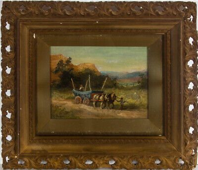 E. Hartry (fl.1883-1909) - Framed Late 19th Century Oil, Study of a Horse & Cart