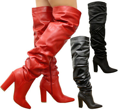 Ladies Thigh High Over The Knee Boots Womens Slough Wide Calf Block Heels Shoes