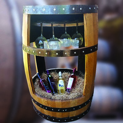 Recycled Solid Oak pub Whiskey Cask Drinks Table with Glass Holder And Storage