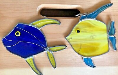 Stained Glass Sun Catcher Gold Or Blue Fish - NEW MADE IN THE USA