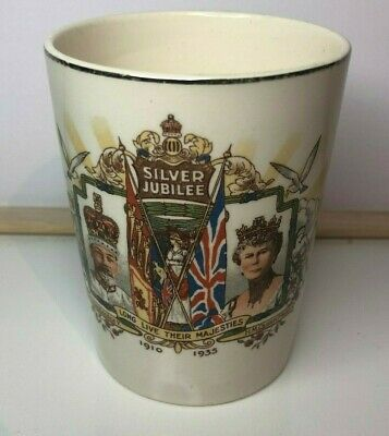 King George V & Queen Mary Silver Jubilee 1910-35 Pottery Beaker