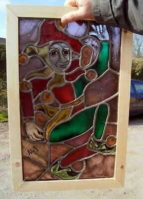 A Flemish Arts And Crafts Style Painted Leaded Glass Window