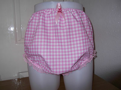Adult Baby~Sissy~Maids~ Gingham & Lace Pants~Nappy~Diaper Cover