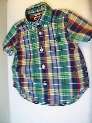 CHAPS RALPH LAUREN Boys 18 Months - BUTTON DOWN PLAID SS SHIRT - EUC