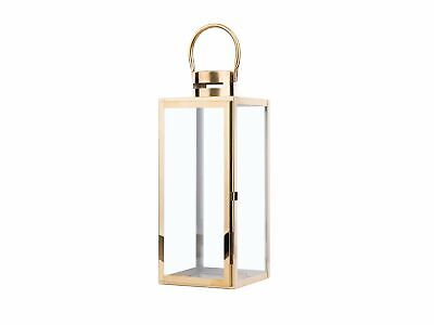 Modern Accent Lantern Decorative Brass Metal Tempered Glass Candle Lamp Cyprus