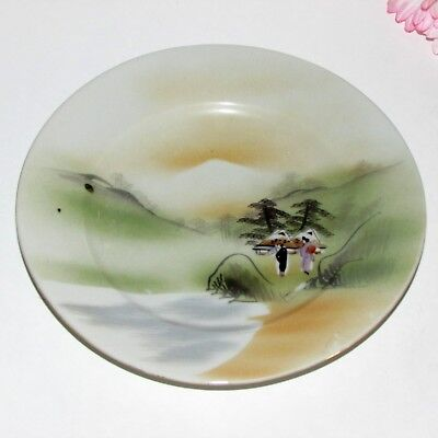 antique japanese  hand painted cabinet  Plate signed