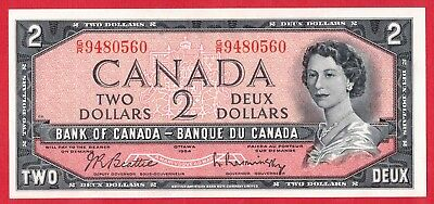 ✪ 1954 $2 Bank of Canada Note Beattie-Rasminsky G/R Prefix 9480560 - AU