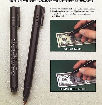 (3 Pack) Counterfeit Money Detector Pen Marker Fake Dollar Bills Currency Check.