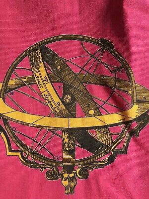 """Vintage French C1966 Astrolabe Vibrant Fabric panel Curtainproject 48""""/75""""approx"""