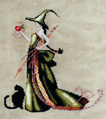 Mirabilia Nora Corbett 'Ana pixie Witch' Completed Unframed Cross Stitch Piece