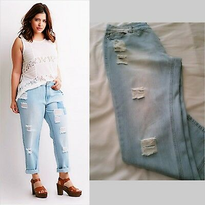 3fb6fabad3 Forever 21 Plus Size Faded Light Blue Distressed Jeans Plus Size 14 New