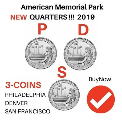 2019 P D S (3)Coins American Memorial Park Northern Mariana Islands Quarters...