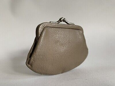 Vintage 1950s Small Mini Taupe Leather  Lined Kiss Clasp Coin Purse 4x3 Inches