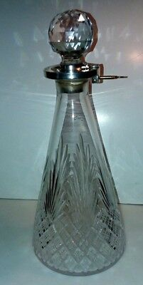 Antique English Crystal Decanter With Sterling Lock And Key  Hallmarked C. 1897