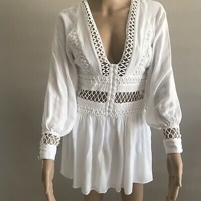 de2c84e2ab5f Free People I Think I Love You Dress With Cut Work Long Sleeve White Sz 4