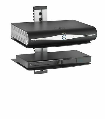 2-Tier Floating Glass Shelf Shelves Wall Mount Bracket PS4 Sky Tv Box Stand New