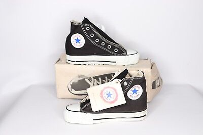 b6cdd88725bb15 Vintage 90s New Converse Chuck Taylor Youth 12 All Star Hi Shoes Black USA  Made