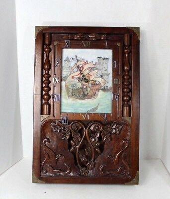 Antique Vintage 50s Handmade Ornate Brass Wood Nautical Sailing Ship Wall Clock