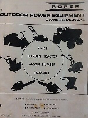 Roper RT-16T Garden Tractor Owner, Parts & Onan BF Engine Service (2 Manual s)hp