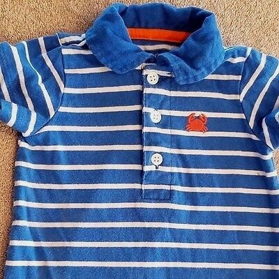 19b0146bb CLOSEOUT! BABY CARTER'S 3 Month Blue Striped Crab Romper Outfit ...