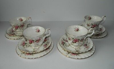 4 Royal Albert Lavender Rose Trio's Cup Saucer & Side Plate EX CON