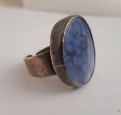 VTG Solid STERLING SILVER Blue Pottery Shard Oval Statement Ring SIAM Adjustable