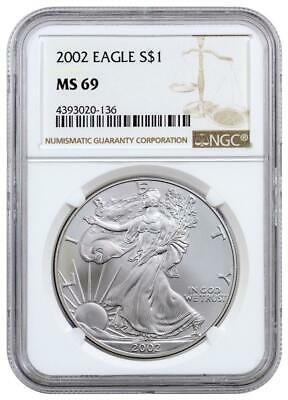 2002 1 oz American Silver Eagle Coin NGC MS69 .999 Pure Brilliant Uncirculated