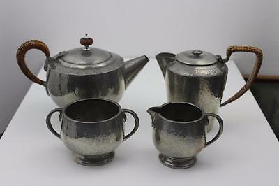 Tudric Pewter Ware 4 Pieces Hammer Finish Tea Service  Made in England