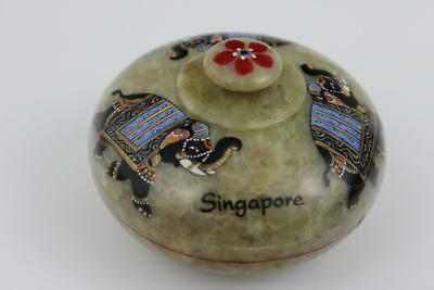 Singapore Soapstone Lidded Bowl Hand Painted 8x5cm