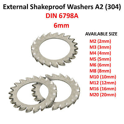 M6 (6mmØ) EXTERNAL SERRATED TOOTH SHAKEPROOF LOCK WASHERS A2 STAINLESS F1516