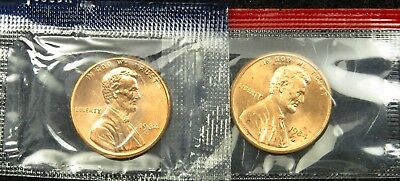 1984 P & D Uncirculated Lincoln Memorial Cent Penny Mint Cello (B01)