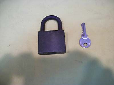 Vintage Heavy Brass Body Mortice Padlock & Key - Excellent