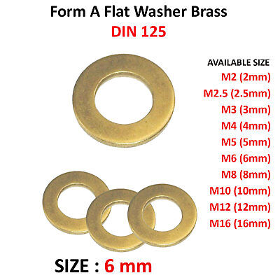 M6 - 6mm BRASS FORM A FLAT WASHERS DIN 125 FS1589