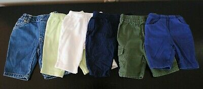 Infant Baby Boy Lot of 6 Navy Green Denim White Pants Size 3 mos EUC