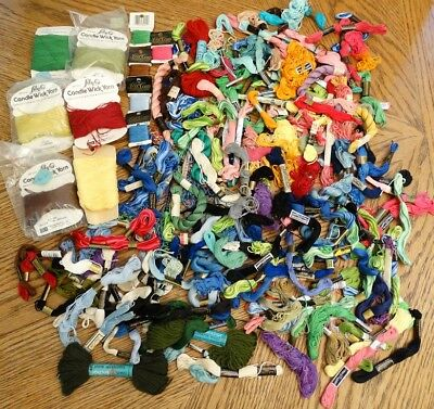 Lot of Embroidery Floss & Cross Stitch Needlepoint Thread & Candle Wick Yarn