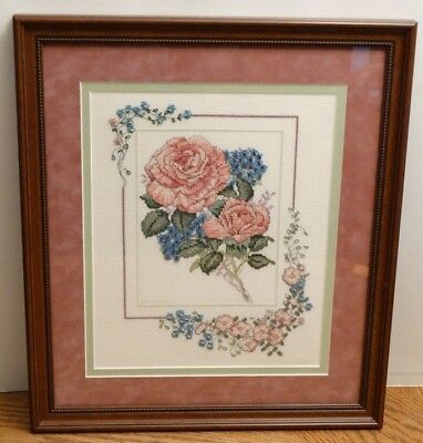 Framed Completed Cross Stitch Flowers from 2006