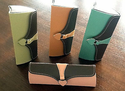 Luxury Two Colour Elegant Ladies Spectacle Glasses Case Faux Leather Protection