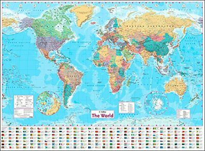 World Map Classic Wall Map Flags (100x140)cm Huge Large Poster Office School