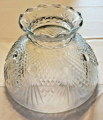 "Vintage Clear Art Glass Quilted Diamond Pattern Lamp Shade 7 3/4"" Diameter"