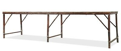 """120"""" L Folding Army Table Hand Crafted Solid Teak Wood Distressed Iron Frame"""