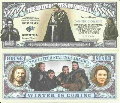 Game of Thrones House Stark Winterfell Winter is Coming Million Dollar Bills x 2