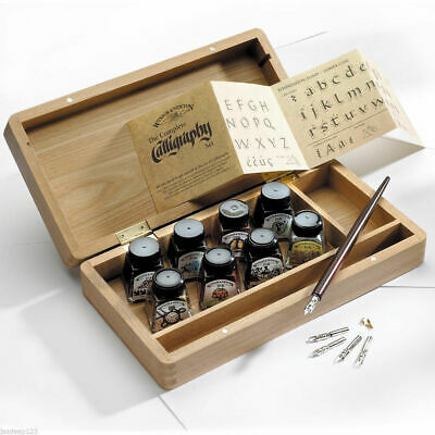 Winsor & Newton Calligraphy Wooden Box Set Inks Dip Pen Nibs Artist Drawing