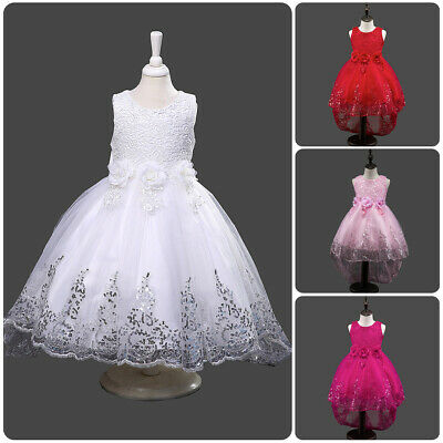 Flower Girl Bridesmaid Sequin Lace Hi-low Party Princess Dress Wedding Ball Gown