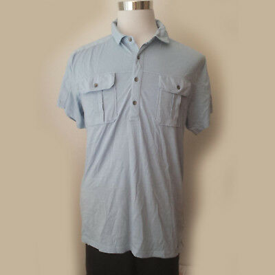 DKNY JEANS men size L short sleeve shirt Blue Made in INDIA