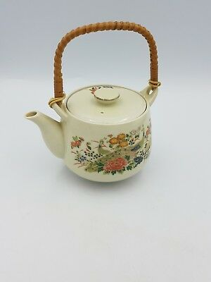 Vintage Japanese Satsuma Porcelain Teapot Floral Exotic Birds Gold Bamboo Handle