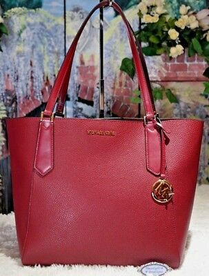 bea7b13a95088b NWT MICHAEL KORS KIMBERLY LARGE TOTE Bag In MULBERRY Red Bonded Leather $348