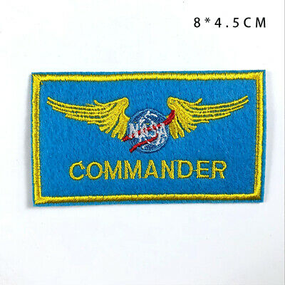 NASA Commander Patches Embroidered Wing Badge Clothes Stickers Patch for Cloth